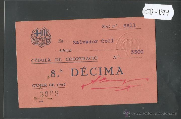 FUTBOL CLUB BARCELONA - CEDULA DE COOPERACIO - GENER 1929 - (CD-1194) (Coleccionismo Deportivo - Documentos de Deportes - Otros)