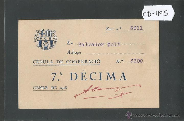FUTBOL CLUB BARCELONA - CEDULA DE COOPERACIO - GENER 1928 - (CD-1195) (Coleccionismo Deportivo - Documentos de Deportes - Otros)