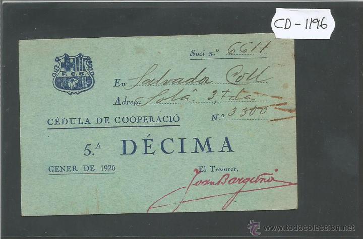 FUTBOL CLUB BARCELONA - CEDULA DE COOPERACIO - GENER 1926 - (CD-1196) (Coleccionismo Deportivo - Documentos de Deportes - Otros)