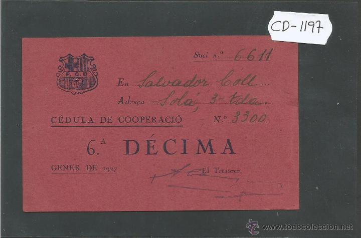 FUTBOL CLUB BARCELONA - CEDULA DE COOPERACIO - GENER 1927 - (CD-1197) (Coleccionismo Deportivo - Documentos de Deportes - Otros)