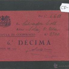 Coleccionismo deportivo: FUTBOL CLUB BARCELONA - CEDULA DE COOPERACIO - GENER 1927 - (CD-1197). Lote 46547718