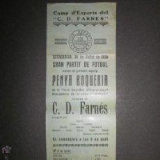 Coleccionismo deportivo: CARTEL PEQUEÑO FUTBOL- PARTIDO ENTRE PENYA BOQUERIA Y C.D. FARNES - AÑO 1929 - (CD-1206).. Lote 46573180