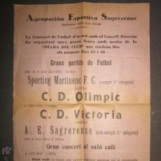 Coleccionismo deportivo: CARTELITO FUTBOL - AGRUPACION ESPORTIVA SAGRERENSE - 22X32 CM. - (CD-1242). Lote 46650088