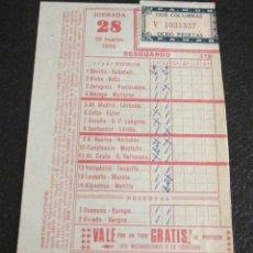 Coleccionismo deportivo: RESGUARDO DE QUINIELA JORNADA 28. 20-MARZO-1966. Lote 46703566