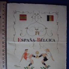 Coleccionismo deportivo: (F-1226)MINUTA PARTIDO DE FUTBOL,ESPAÑA-1(SILVA)-BELGICA,0,2 ENERO DE 1949,FIRMA DE GAINZA,ETC.. Lote 46781277