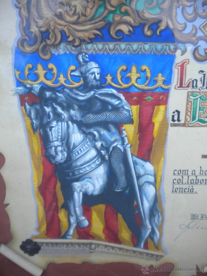 Coleccionismo deportivo: DIPLOMA DE LA FEDERACION VALENCIANA DE FUTBOL A DON PABLO PORTA EXPRESIDENTE FEF 1974 PINTADO A MANO - Foto 3 - 46887795