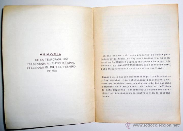 Coleccionismo deportivo: MEMORIA FEDERACION ARAGONESA de FUTBOL TEMPORADA 1980 COLEGIO ARAGONES DE ENTRENADORES. - Foto 2 - 46920746