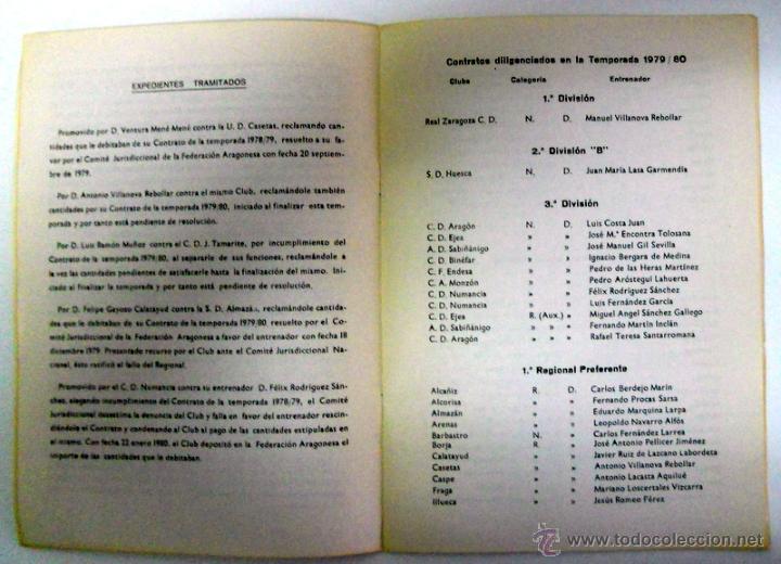 Coleccionismo deportivo: MEMORIA FEDERACION ARAGONESA de FUTBOL TEMPORADA 1980 COLEGIO ARAGONES DE ENTRENADORES. - Foto 3 - 46920746