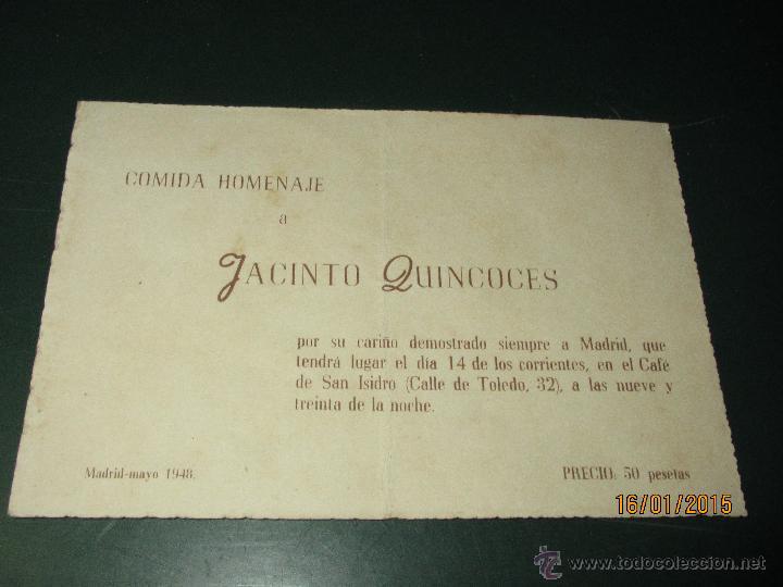 ANTIGUA TARJETA CARTULINA DE LA COMIDA HOMENAJE A JACINTO QUINCOCES DEL AÑO 1948 (Coleccionismo Deportivo - Documentos de Deportes - Otros)