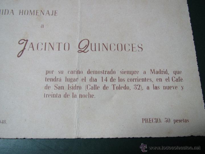 Coleccionismo deportivo: Antigua Tarjeta Cartulina de la Comida Homenaje a Jacinto QUINCOCES del año 1948 - Foto 2 - 47274584