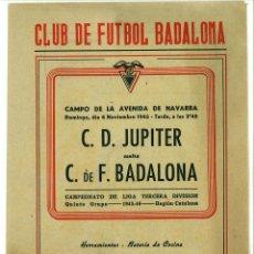 Coleccionismo deportivo: DIPTICO CLUB DE FUTBOL BADALONA - JUPITER 1945. SECCION AJEDREZ PUBLICIDAD. Lote 47547903