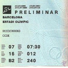 Coleccionismo deportivo: ENTRADA ORIGINAL OLIMPIADA BARCELONA 92 - ATLETISMO PRELIMINAR. Lote 47743741