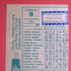 Coleccionismo deportivo: RESGUARDO QUINIELA JORNADA 8 DEL 10-11-1963 (SELLADA - SEIS COLUMNAS - 24 PTAS.). Lote 47745757