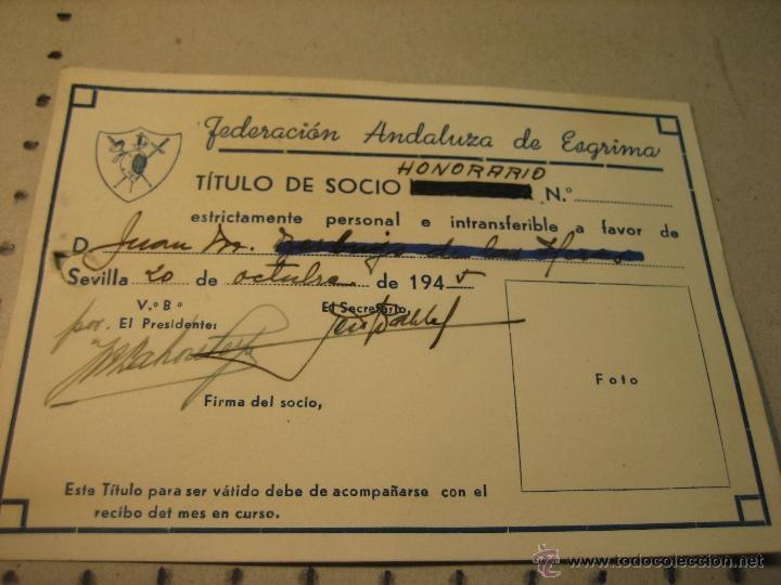 TITULO SOCIO HONORARIO FEDERACION ANDALUZA DE ESGRIMA.- AÑO 1945 (Coleccionismo Deportivo - Documentos de Deportes - Otros)