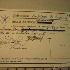 Coleccionismo deportivo: TITULO SOCIO HONORARIO FEDERACION ANDALUZA DE ESGRIMA.- AÑO 1945. Lote 47839617