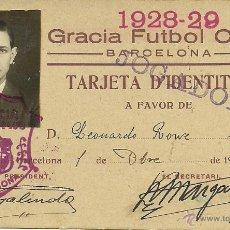 Coleccionismo deportivo: (F-0024)CARNET DE JUGADOR DEL GRACIA FUTBOL CLUB,1928-29. Lote 48137289