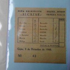 Coleccionismo deportivo: PEÑA QUINIELISTA ALCAZAR 1948. Lote 48437103