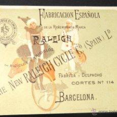 Coleccionismo deportivo: TARJETA PUBLICITARIA RALEIGH BARCELONA BICICLOS Y TRICICLOS FABRICACION ESPAÑOLA. Lote 48773330