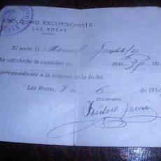 Coleccionismo deportivo: ANTIGUO RESGUARDO,SOCIEDAD EXCURSIONISTA-LAS ROZAS-.MADRID.AÑO 1934.. Lote 48783657