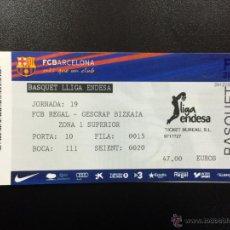 Coleccionismo deportivo: ENTRADA ENTERA FC BARCELONA -GESCRAP BIZKAIA LIGA ENDESA 2012/2013 TICKET PALAU BLAUGRANA BALONCESTO. Lote 49030169