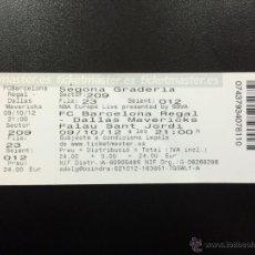 Coleccionismo deportivo: ENTRADA ENTERA FC BARCELONA - DALLAS MAVERICKS NBA BALONCESTO TICKET BASKET AÑO 2012.. Lote 49030304
