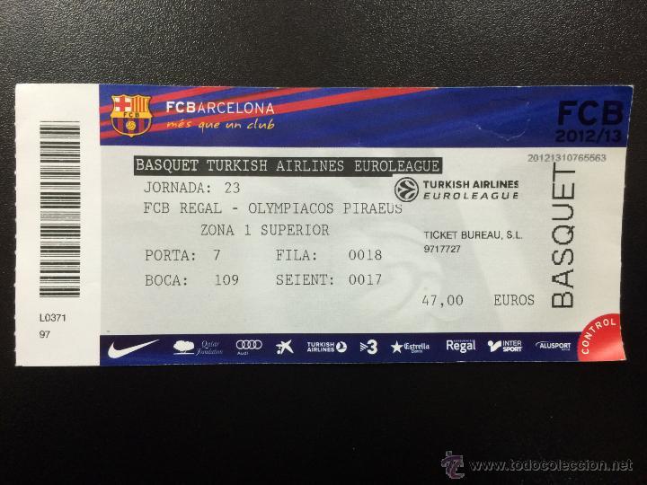 ENTRADA FC BARCELONA - OLYMPIACOS PIRAEUS - EUROLIGA 2012/2013 BALONCESTO BASKET TICKET PALAU. (Coleccionismo Deportivo - Documentos de Deportes - Otros)
