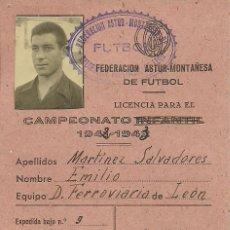 Coleccionismo deportivo: (F-0503)CARNET DE JUGADOR DEL D.FERROVIARIA DE LEON,CAMPEONATO 1942-1943. Lote 49160097