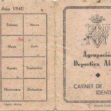Coleccionismo deportivo: (F-0584)CARNET DE SOCIO DE LA AGRUPACION DEPORTIVA ALCIRA,1 DICIEMBRE 1939. Lote 49290783