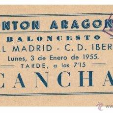 Coleccionismo deportivo: ENTRADA BALONCESTO / REAL MADRID - CD IBERIA / 1955. Lote 116130054
