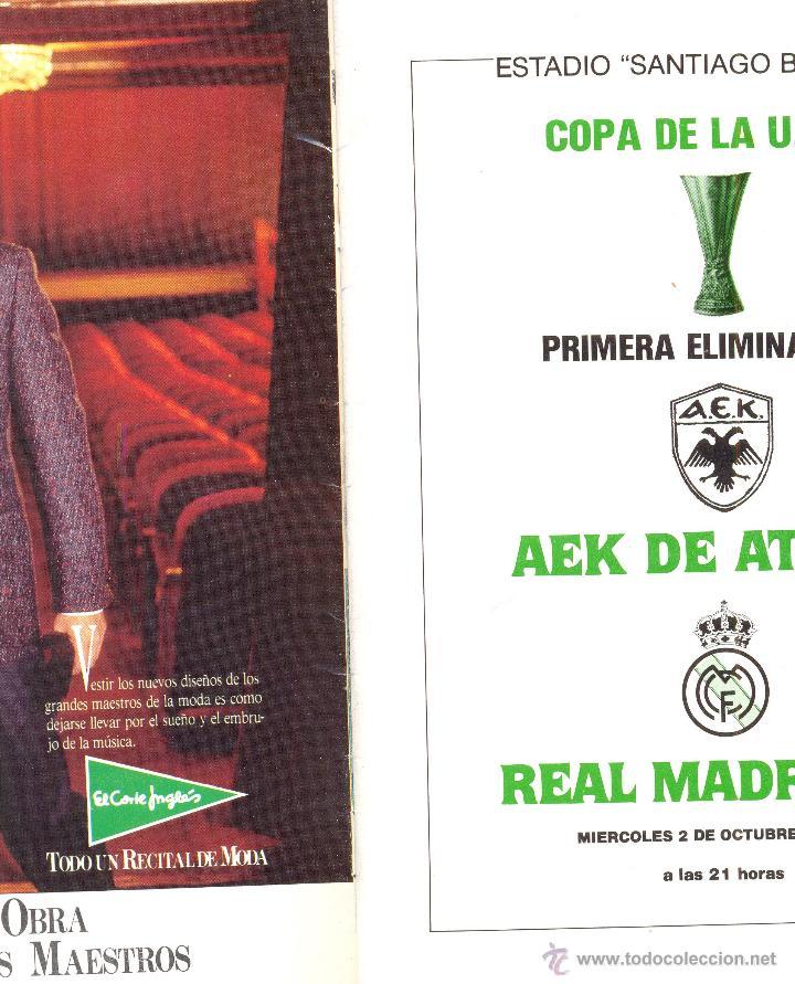 Coleccionismo deportivo: PROGRAMA DEL PARTIDO REAL MADRID - AEK ATENAS. COPA UEFA 1985. Envío: 1,30 € *. - Foto 2 - 49842284
