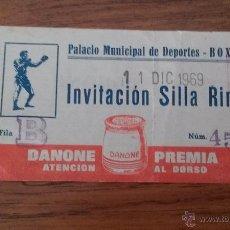 Coleccionismo deportivo: ENTRADA PALACIO MUNICIPAL DE DEPORTES BOXEO SILLA RING 1969 PUBLICIDAD DANONE VER FOTOS. Lote 49918884