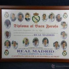 Coleccionismo deportivo: DIPLOMA DEL BUEN FOROFO REAL MADRID LIGA 96 97 36X48,5CMS. Lote 50343169