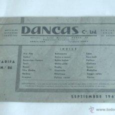 Coleccionismo deportivo: CATÁLOGO DE MATERIAL DEPORTIVO Y JUEGOS. DANCAS, CIA. LDA. BARCELONA. SEPTIEMBRE DE 1947.. Lote 50373388