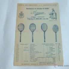 Coleccionismo deportivo: CATÁLOGO DE RAQUETAS DE TENIS Y ARTÍCULOS DE DEPORTE. J. CARAUTE. BARCELONA. AGOSTO DE 1931.. Lote 50373412