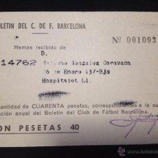 Coleccionismo deportivo: CARNET RECIBO BOLETIN DEL FUTBOL CLUB FC BARCELONA F.C BARÇA CF ANUAL 1964. Lote 50864685