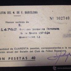 Coleccionismo deportivo: CARNET RECIBO BOLETIN DEL FUTBOL CLUB FC BARCELONA F.C BARÇA CF ANUAL 1965. Lote 50864695