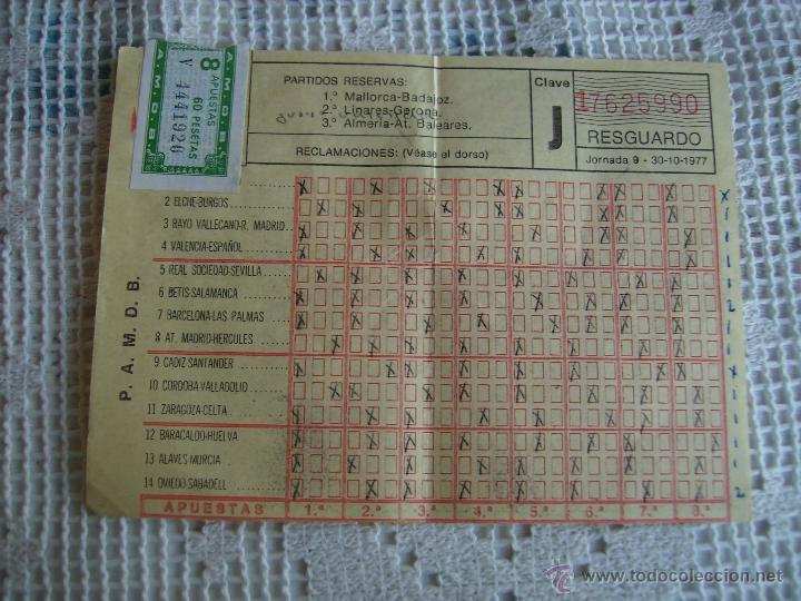 **ANTIGUA QUINIELA DE FUTBOL CON SELLO DE 8 APUESTAS,(60 PTAS) JORNADA 9 30-10-1977** (Coleccionismo Deportivo - Documentos de Deportes - Otros)