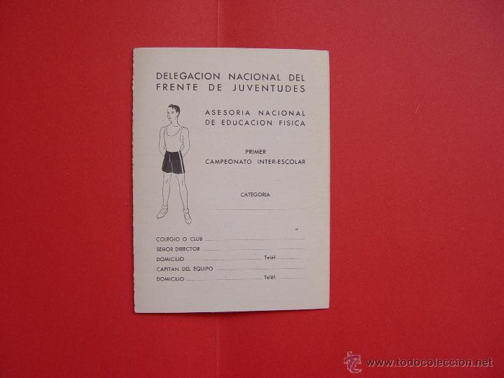 FICHA DEPORTIVA: DELEGACIÓN NACIONAL DEL FRENTE DE JUVENTUDES (1941) ¡ORIGINAL! (Coleccionismo Deportivo - Documentos de Deportes - Otros)