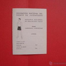 Coleccionismo deportivo: FICHA DEPORTIVA: DELEGACIÓN NACIONAL DEL FRENTE DE JUVENTUDES (1941) ¡ORIGINAL!. Lote 50944614
