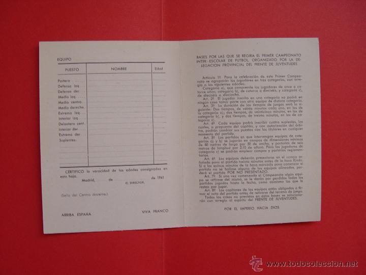 Coleccionismo deportivo: Ficha deportiva: DELEGACIÓN NACIONAL DEL FRENTE DE JUVENTUDES (1941) ¡Original! - Foto 2 - 50944614