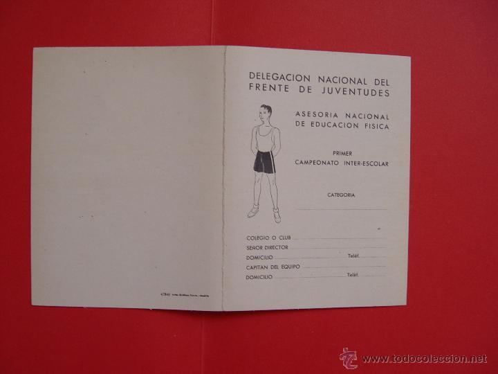 Coleccionismo deportivo: Ficha deportiva: DELEGACIÓN NACIONAL DEL FRENTE DE JUVENTUDES (1941) ¡Original! - Foto 3 - 50944614