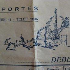 Coleccionismo deportivo: CURIOSA FACTURA DE ROPA DE FUTBOL AÑO 1942- LA SAMARITANA BARCELONA. Lote 50946040
