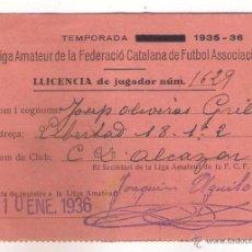 Coleccionismo deportivo: LICENCIA DE JUGADOR AMATEUR EXPEDIDA POR LA FEDERACIÓN CATALANA DE FUTBOL 1936.. Lote 50955804