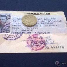 Coleccionismo deportivo: FICHA PLASTIFICADA ORIGINAL DEL ENTRENADOR DEL CD. MALAGA DE LA TEMPORADA 85-86 BENITEZ. Lote 50572167