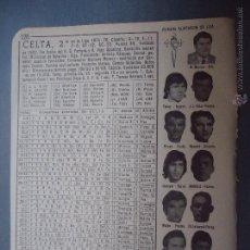Coleccionismo deportivo: ANTIGUA PEQUEÑA HOJA DEPORTIVA - FUTBOL - EQUIPO - PLANTILLA - CLUB - CELTA. Lote 51079009