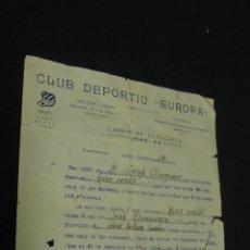 Coleccionismo deportivo: OBRAS DEL NUEVO CAMPO DEL C.D. EUROPA - RECIBO DEL AÑO 1923 - . Lote 51123756
