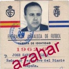Collectionnisme sportif: CARNET TARJETA IDENTIDAD FEDERACION ANDALUZA DE FUTBOL, TEMPORADA 1962-63. Lote 51485513