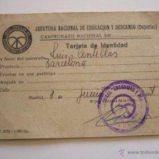 Coleccionismo deportivo: TARJETA DE IDENTIDAD. EDUCACIÓN Y DESCANSO. LUIS CENTELLAS R.C.D. ESPAÑOL Y F.C. BARCELONA 1941?. Lote 51996115