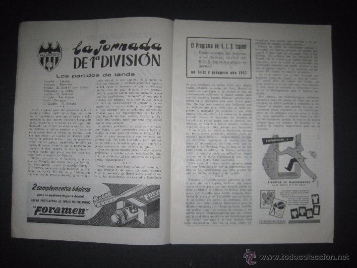 Coleccionismo deportivo: R.C.D. ESPAÑOL - PROGRAMA PARIDO VALENCIA ESPAÑOL - AÑO 1956- 57 - VER FOTOS -( V-3302 ) - Foto 3 - 52299584