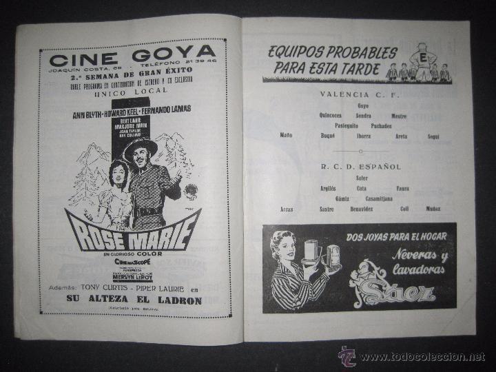 Coleccionismo deportivo: R.C.D. ESPAÑOL - PROGRAMA PARIDO VALENCIA ESPAÑOL - AÑO 1956- 57 - VER FOTOS -( V-3302 ) - Foto 6 - 52299584